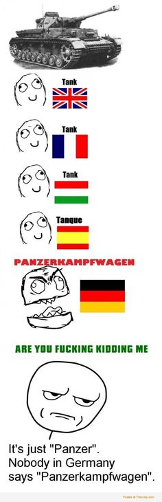 "We say ""Panzer"" in German. Funny Images, Funny Photos, Funny Jokes, Hilarious, German Words, German Language, Japanese Language, Spanish Language, French Language"