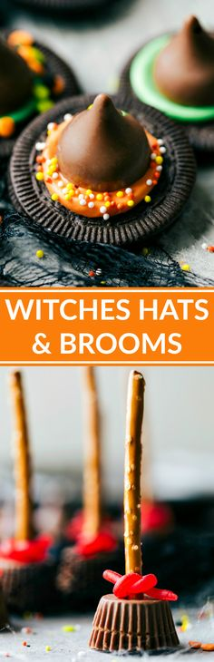 Easy, cute, festive, and fun-to-make Halloween treats -- each with four ingredients or less. Monster eyeballs, witches hats, witches brooms, and bat bites.