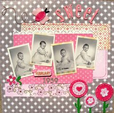 """""""Sweet"""" scrapbook page layout - I like the contrast between the aged photos and the bright paper and embellishments Baby Girl Scrapbook, Baby Scrapbook Pages, Vintage Scrapbook, Scrapbook Page Layouts, Scrapbook Paper Crafts, Scrapbook Cards, Scrapbooking Ideas, Heritage Scrapbook Pages, Foto Fun"""