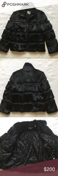 "Black VAKKO Rabbit Fur Jacket Black ""VAKKO"" Rabbit Fur & Leather Jacket. Size M. Zip front closure. 2 pockets. Shell 100% Rabbit Fur Combination 100% Leather. Lining 100% Acetate. Great Pre-Loved Condition! Vakko Jackets & Coats"
