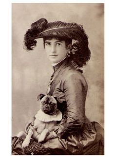 Beautiful Woman With Pug, turn of the last century - Vintage Dog Gallery | Modern Dog magazine - the best dog magazine ever