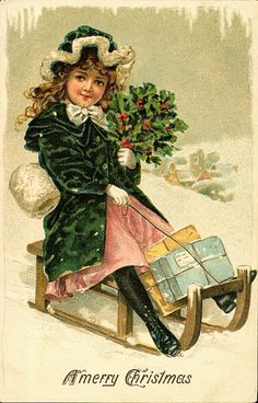 free angel postcard image | ... Girl on a Sled with Holly and Packages Christmas Greeting Postcard