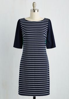 Efficient for Compliments Dress - Blue, Multi, Stripes, Print, Work, Colorblocking, Shift, Short Sleeves, Winter, Knit, Better, Mid-length