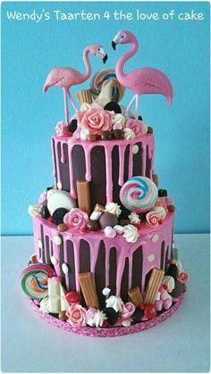 Flamingo drip cake - Cake by Wendy Schlagwein - CakesDecor