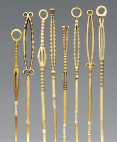 Ivory hair pins from the Mangetu tribe, Congo