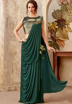 Green Lycra Dreap Party Wear Saree With Embroidery Designer Blouse Green Lycra Dreap Party Wear Saree With Embroidery Designer Blouse Fabric : Lycra Blouse : Embroidery & Sequin Net Saree : Designer Party Wear Work : Embroidery And Saree Designs Party Wear, Party Wear Sarees, Saree Blouse Designs, Party Wear Frocks, Choli Dress, Saree Gown, Sari, Designer Party Wear Dresses, Indian Designer Outfits