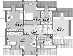 Projekt domu Antonio 142,4 m2 - koszt budowy 236 tys. zł - EXTRADOM Living Room Designs, Floor Plans, Modern, Architect House, Homes, House, Trendy Tree