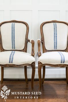 "Makeover of a pair of ""French twins"" in grain sack upholstery - Miss Mustard Seed"