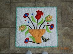 My funny valentine flower pot birdie wall quilt, hand appliqué, needle turn appliqué.