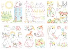 Moomin Embroidery Vintage Embroidery, Embroidery Stitches, Embroidery Patterns, Cross Stitch Charts, Cross Stitch Patterns, Tove Jansson, Printable Art, Printables, Needle And Thread