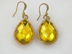 "Vintage 60s Glam Pear Shape Yellow Rhinestone Statement Earrings Brilliant Faceted Glass Gold Tone Dangle Drop Hook 1.5"" by DecoOwl on Etsy"