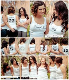 Bridesmaids Tank Top Bridal Entourage Wedding Party Bachelorette Party Maid of Honor Mother of the Bride Mother of the Groom Tank or Shirts. cute idea, but i still like tie dye better than solids Sister Wedding, Dream Wedding, Wedding Stuff, Cute Wedding Ideas, Wedding Inspiration, Bridesmaid Tank Tops, Bridesmaid Dress, Bridal Entourage, Bachelorette Tanks