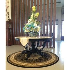 Kediaman Customer (Kak Gita di Medan) Karpet bulat ukuran 200cm*200cm Tipe Diamond 3027A Hitam Carpet, Table, Furniture, Home Decor, Decoration Home, Room Decor, Tables, Home Furnishings, Rug