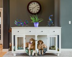 We build custom kennel furniture for discerning customers who love their pets and want their home to reflect their style and elegance. Wire and plastic kennels are ugly, DCT Kennels are a piece of fine furniture that adds beauty to your home. Custom Kennel Furniture, Wooden Dog Kennels, Double Dog Kennel, Crate furniture