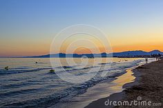 Scenic colorful sunset at the sea coast. Good for wallpaper or background image, Costa Darado, Spain