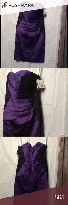 David's bridal purple and black formal sz 6 David's bridal purple and black lace formal sweetheart neck strapless dress.  Rouching on front and back with black lace on sides for slimming effect. 25 inches long size 6. New with tags. David's Bridal Dresses Mini