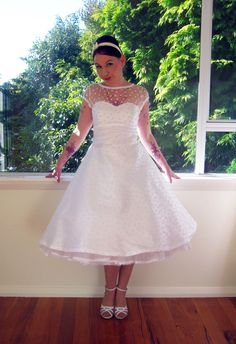 1950s style wedding dresses | 1950's Style White Wedding Dress with Polka Dot Overlay, Sweetheart ...