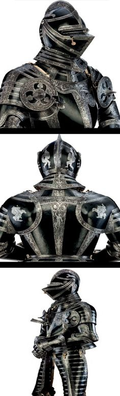 """An exceptionally fine and rare north German field armour with etched decoration, from the Armoury of """"JULIUS DUKE OF BRUNSWICK-WOLFENBUTTEL"""", Brunswick, ca. 1560. (PF)"""