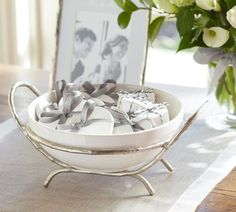 Caroline Oval Serve Bowl & Stand | Pottery Barn. It looks as if it is made of silver branches.