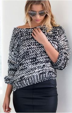 Cocoon Knit Jumper Black And White
