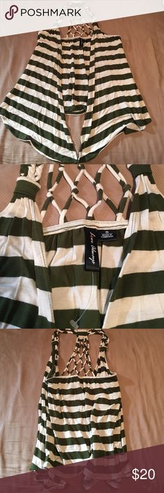 Sleeveless lightweight open front top Bought it and never wore it! Olive green and white striped can be worn over several types of shirts! Tag says 50% polyester 50% Rayon Love Always Tops