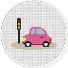 Pink Automobile Cross Stitch Illustration