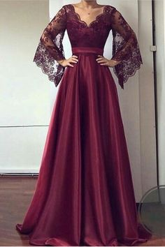 V Neck Lace Sleeves Prom Dress , Charming Prom Dress Simple Dresses, Elegant Dresses, Pretty Dresses, Beautiful Dresses, Formal Dresses, Hijab Evening Dress, Hijab Dress Party, Evening Dresses, Prom Dresses Lace Sleeves