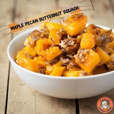 Maple Pecan Butternut Squash .  Prep time: 10 minutes  Cook time: 40 minutes  Serves: 4 people . Ingredients: 2 pounds butternut squash peeled and cubed 1/4 cup maple syrup 2 tablespoons coconut oil melted sea salt to taste 1 cup crushed pecans 1 cup dates pitted and diced . Instructions: 1Preheat your oven to 400 2Place your butternut squash in a large bowl with your maple syrup and coconut oil and mix well to coat the squash 3Place your squash on an aluminum foil lined baking sheet and…