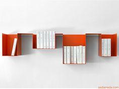 Spread | Variante DX - Mensola e libreria in metallo, color zucca (arancione)