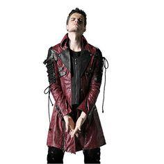 Hiver Punk Homme Poison Veste Mens Gothique Rock Faux En Cuir Manches longues Manteaux Goth Steampunk Militaire Long Manteau Grande Taille 4XL