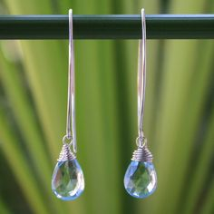 Novica Sublime Siam Faceted Topaz Drops with 925 Sterling Silver Wrap Setting on Long Oval Wires Womens Dangle Earrings