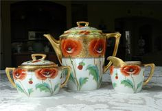 3-Pc Bavarian Tea Set Hand Decorated by Stouffer w/ Vibrant Poppies, Gold #DecoratedStoufferJCBlanks