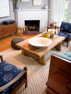 Weathered timbers make a solid table and can go with many styles – rustic, old world, contemporary, eclectic and more. The angle cuts on the legs of this table give it an Asian flair.
