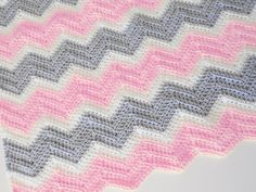 Crochet chevron baby blanket in soft pink off white by PinkyRoo