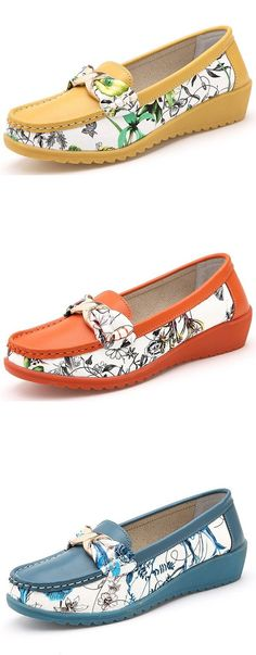 US$19.48 Floral Print Color Match Bowknot Metal Flat Round Toe Soft Slip On Ballet Loafers