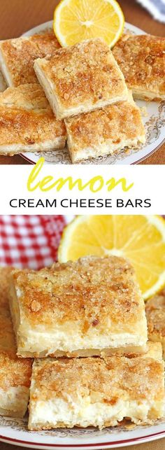 Cream Cheese Bars One word describes this easy lemon cream cheese bars recipe -- EXCELLENT.One word describes this easy lemon cream cheese bars recipe -- EXCELLENT. Köstliche Desserts, Delicious Desserts, Dessert Recipes, Yummy Food, Health Desserts, Lemon Recipes, Baking Recipes, Sweet Recipes, Easy Recipes