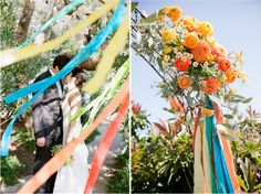 bright colors and a great display at the altar in this wedding