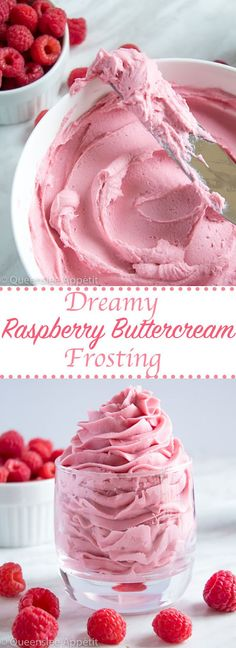 This Dreamy Raspberry Buttercream Frosting is perfectly light, fluffy and creamy. With an authentic raspberry flavour and gorgeous pink colour, this frosting will pair perfectly with any summer, Valentines Day or Mother's Day dessert! Holiday and Event DI Raspberry Buttercream Frosting, Icing Frosting, Fluffy Frosting, Raspberry Cake Filling, Raspberry Cupcakes, Pink Icing, Rasberry Desserts, Rasberry Cake, Frosting Colors