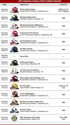 Alabama Crimson Tide Football Team 2012 Schedule