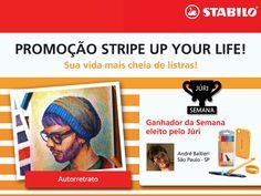 Incrível o autorretrato do André Baltieri, de São Paulo. Ele foi eleito pelo JÚRI e ganhou a última semana da Promoção Stripe Up Your Life.