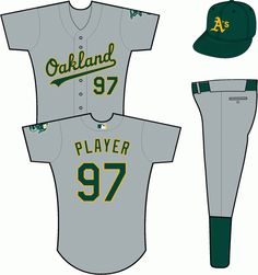 Oakland Athletics Road Uniform (2011) - Oakland scripted in green with a yellow outline on a grey uniform, elephant-on-baseball patch on left sleeve (nameplate removed)
