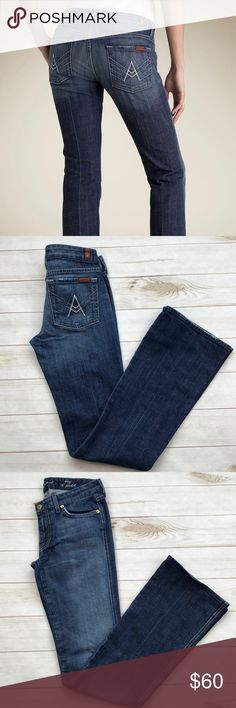 """7 For All Mankind Long A Pocket jeans size 28 7 For All Mankind Long A Pocket jeans size 28 Very small amount of distressing around hems.  Otherwise no flaws wonderful condition  5 pockets, zipper fly single button Inseam approximately 34"""". Rise approximately 8"""". Leg opening approximately 8"""" Smoke free home 7 For All Mankind Jeans Boot Cut"""