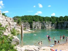 This looks so fun and it's less than 2 hours away from Buffalo. People cliff jump and float and drink for days in this quarry. It's called the Elora Quarry in Canada Vacation Places, Places To Travel, Canada, Oh The Places You'll Go, Places To Visit, Burlington Ontario, Waterloo Ontario, Ontario Travel, Destinations