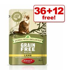85g James Wellbeloved Cat Pouches - 36 + 12 Free!*