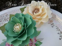 Handmade Paper Flowers - Elizabeth Rose - Emerald and Ivory - Weddings - Party Favors - Custom Colors Available. $5.00, via Etsy.