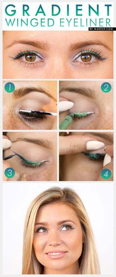 Winged Eyeliner Tutorials - Gradient Winged Eyeliner- Easy Step By Step Tutorials For Beginners and Hacks Using Tape and a Spoon, Liquid Liner, Thing Pencil Tricks and Awesome Guides for Hooded Eyes - Short Video Tutorial for Perfect Simple Dramatic Looks - thegoddess.com/winged-eyeliner-tutorials