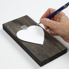 Vævet hjerte på malet ikonplade |DIY vejledning