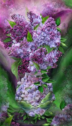 Lilacs In Lilac Vase by Carol Cavalaris ~ mixed media