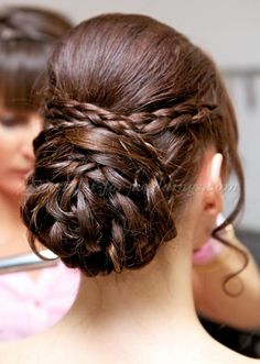 Wedding Hairstyle For Long Hair : braided+wedding+hairstyles+-+braided+chignon+wedding+hairstylebraided chignon we. Chignon Wedding, Wedding Hairstyles For Long Hair, Up Hairstyles, Hair Wedding, Bridal Hair, Simple Elegant Hairstyles, Short Hair Ponytail, Braided Chignon, Belle Hairstyle