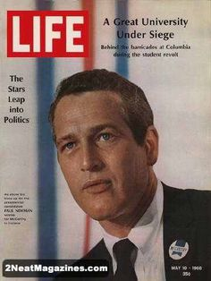 Life Magazine May 10, 1968 : Cover - Paul Newman: Life Magazine from May 10, 1968 - Paul Newman, Here is Vol. 64, #19 -- May 10, 1968 - LIFE MAGAZINE; Cover -- The Stars leap into politics: As show biz lines up for the presidential candidates, Paul Newman works for McCarthy in Indiana; Contents: Editorials -- Rocky and Humphrey: Late but welcome ; The gun law: A step toward sanity ; Speaking up for silence; Reviews -- Book: Norman Mailer's, tanning splits on the binder,other wise…